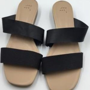 Two Band Espadrille Black Sandals